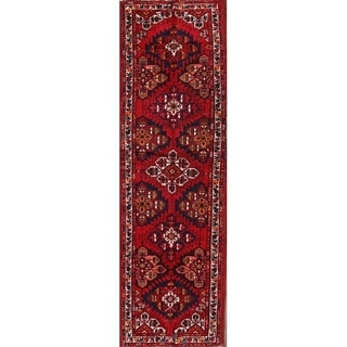 """Vintage Hand Knotted Wool Traditional Hamadan Persian Rug - 12'0"""" x 3'8"""" runner"""