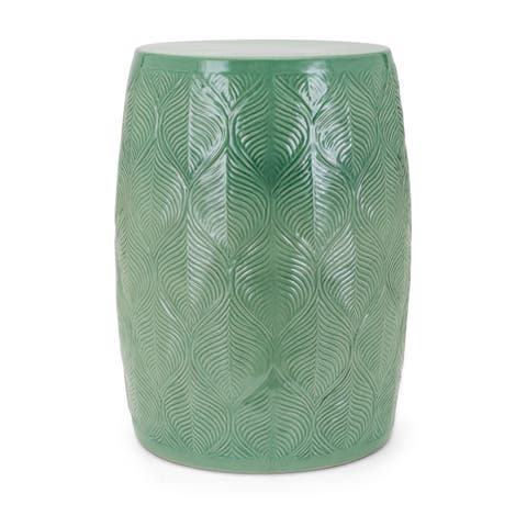 Contemporary Style Ceramic Glazed Garden Stool with Leaf Pattern, Green