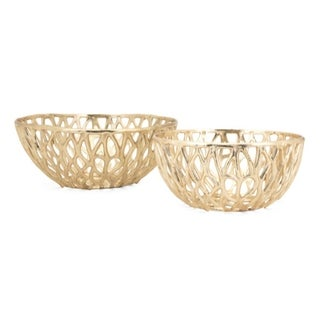 Aluminium Bowls with Geometric Cutout Design, Set of Two, Gold