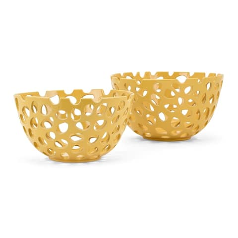 Ceramic Decorative Bowls with Cut-Out Pattern, Set of Two, yellow