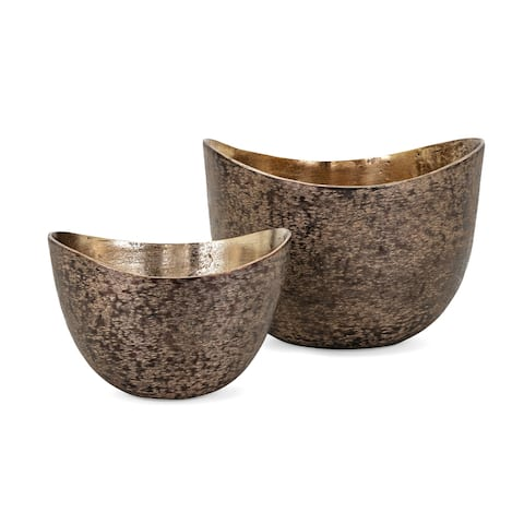 Decorative Aluminum Bowls with Arched Top, Set of 2, Brown and Gold