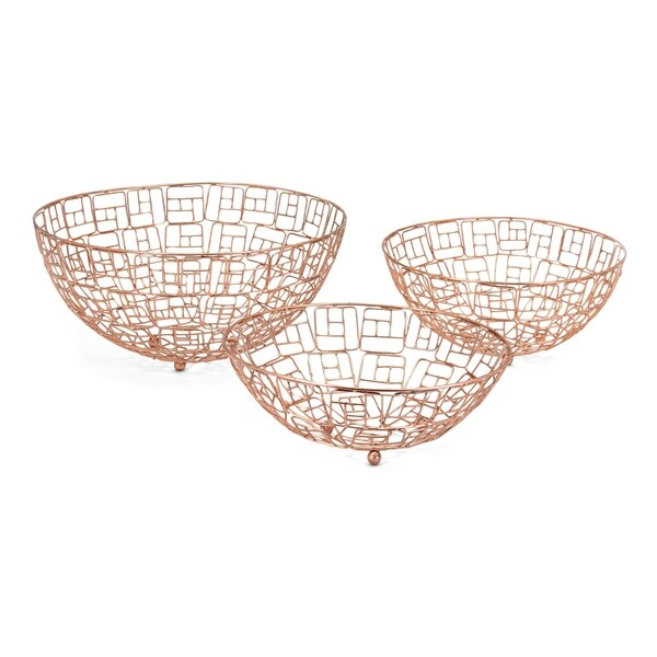 Metallic Bowls with Geometric Design, Set of Three, Copper