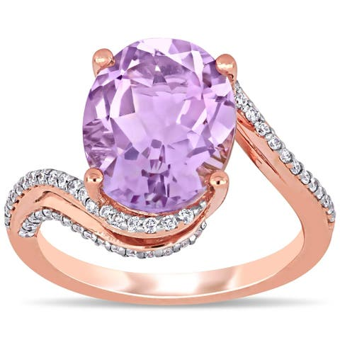 Miadora 14k Rose Gold Oval-Cut Rose de France and 1/3ct TDW Diamond Bypass Cocktail Ring
