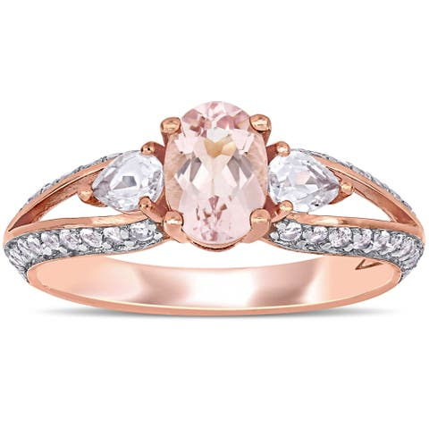 Miadora 10k Rose Gold Multi-Cut Morganite and White Topaz Split Shank 3-stone Engagement Ring