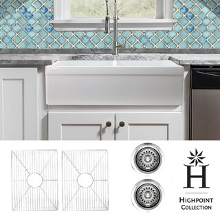 Highpoint Collection 50/50 Farmhouse Sink with Grids and Drains - 33 x 20 x 9.75