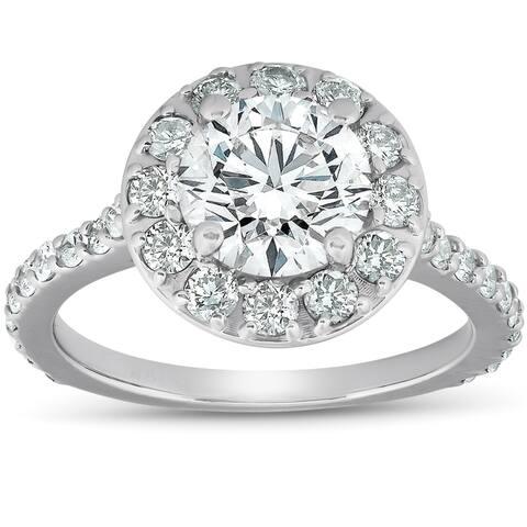 Pompeii3 14k White Gold 3 Ct TDW Halo Diamond Engagement Ring Clarity Enhanced