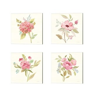 Silvia Vassileva 'Petals and Blossoms' Canvas Art (Set of 4)
