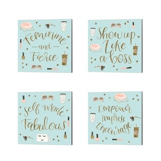 Jenaya Jackson 'Boss Ladies Mint' Canvas Art (Set of 4)