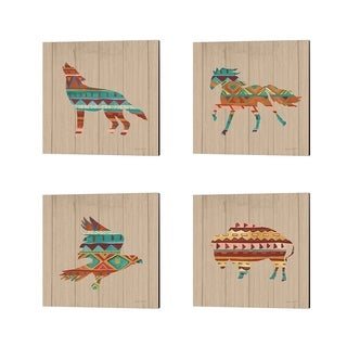 Farida Zaman 'Southwestern Vibes on Walnut' Canvas Art (Set of 4)