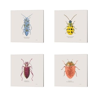 James Wiens 'Adorning Coleoptera Sq Blue' Canvas Art (Set of 4)