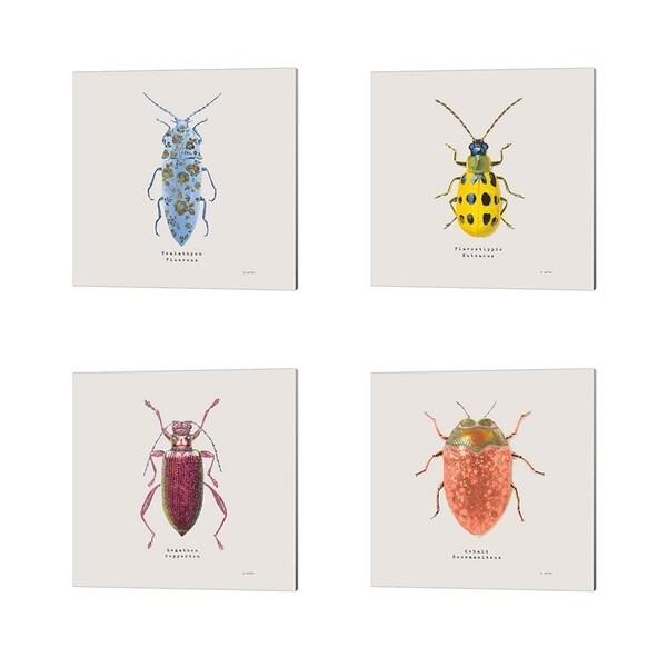 James Wiens 'Adorning Coleoptera Sq Blue' Canvas Art (Set of 4)