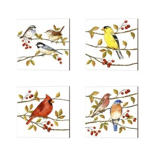 Porch & Den Kalispell Jane Maday 'Birds & Berries' Canvas Art (Set of 4)