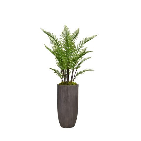"""56.25"""" Tall Fern Plant Faux Décor with Burlap Kit in Resin Planter"""
