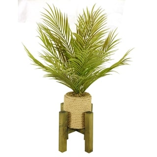 Laura Ashley 30″ Tall Real Touch Palm in Hemp Rope Planter with Wooden Stand – TAN