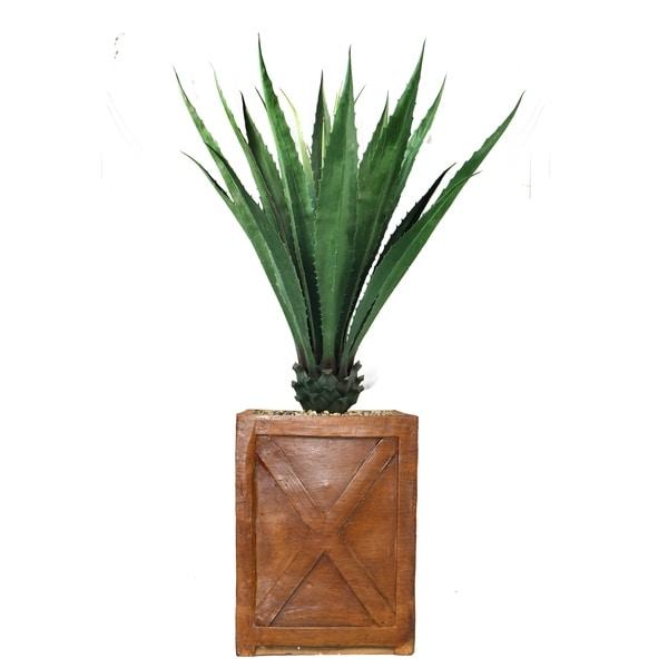 """60"""" Agave, Indoor/outdoor in Fiberstone Planter - bronze"""
