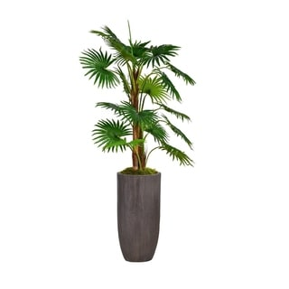 "62.25"" Tall Fan Palm Tree Faux Décor with Burlap Kit in Resin Planter - Brown"