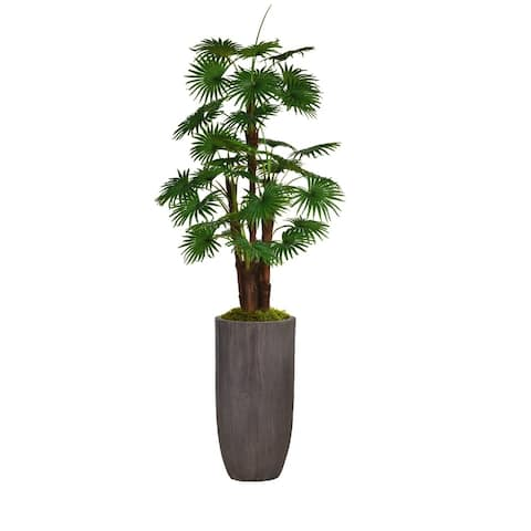 "80.25"" Tall Fan Palm Tree Faux Décor with Burlap Kit in Resin Planter"