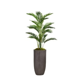 "62.25"" Tall Palm Tree Faux Décor with Burlap Kit in Resin Planter - Brown"