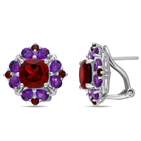 Miadora Sterling Silver Garnet and African-Amethyst Floral Cluster Earrings