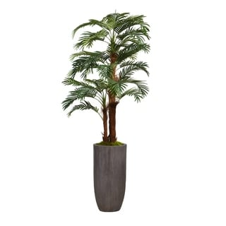 """Laura Ashley 80.25"""" Palm Tree Faux Décor with Burlap Kit in Resin Planter - Brown"""
