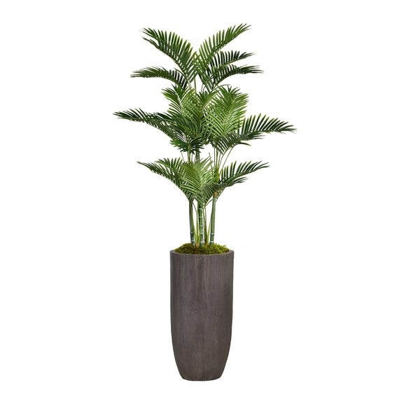 """74.25"""" Palm Tree Faux Décor with Burlap Kit in Resin Planter - Brown"""