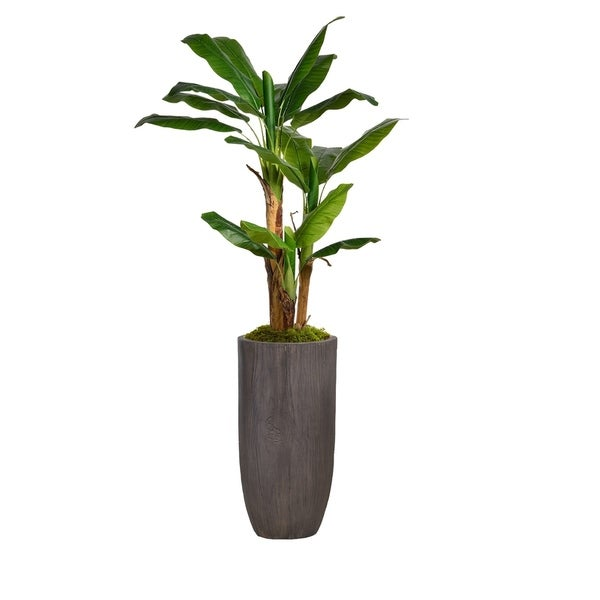 """74.25"""" Banana Tree Faux Décor with Burlap Kit in Resin Planter - Brown"""