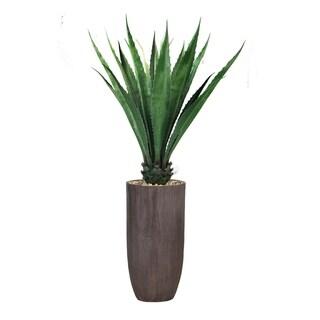"65.25"" Agave, Indoor/outdoor in Resin Planter - Brown"