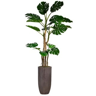 "86.25"" Tall Monstera  Faux Décor with Burlap Kit in Resin Planter - Brown"