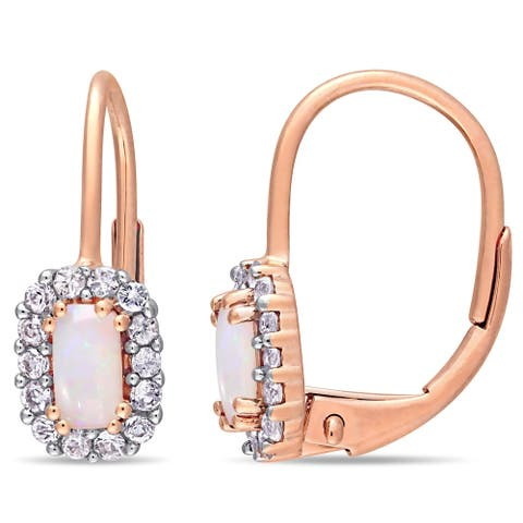 Miadora 10k Rose Gold Octagon-Cut Opal and White Sapphire Halo Leverback Earrings
