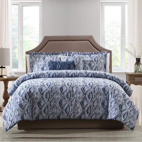 Porch & Den La Mancha Blue Ikat 5-piece Comforter Set