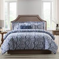 Asher Home Addison Blue Ikat 5-piece Comforter Set
