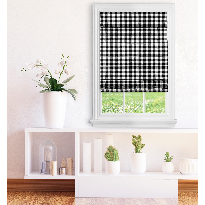 Achim Cordless Buffalo Check Roman Window Shade Black White Overstock 26268993