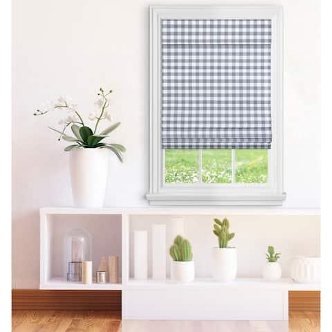 ACHIM Cordless Buffalo Check Roman Window Shade - Grey
