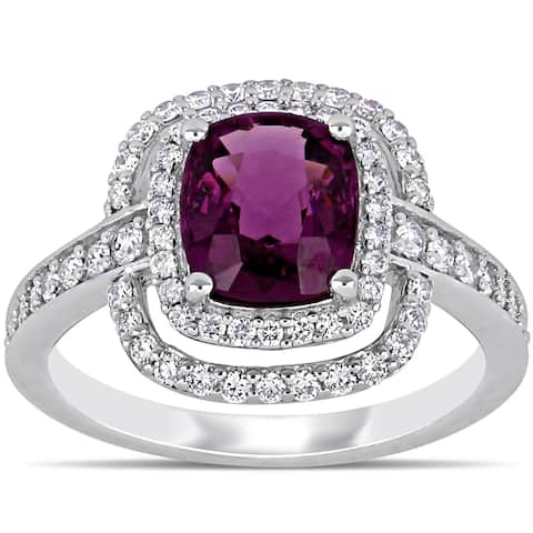 Miadora 14k White Gold Cushion-Cut Rhodolite Garnet and 1/2ct TDW Double Halo Engagement Ring
