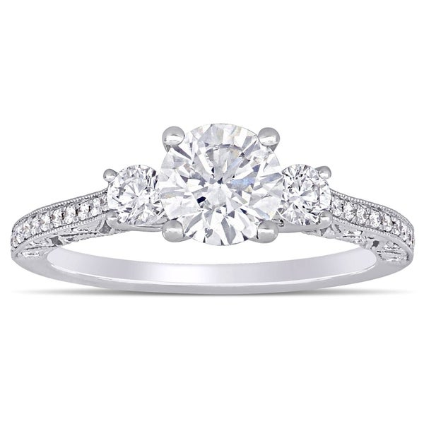 23cce7f30d452 Shop Miadora 18k White Gold 1 5/8ct TDW Diamond 3-Stone Engagement ...