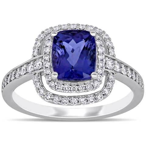 Miadora 14k White Gold Cushion-Cut Tanzanite and 1/2ct TDW Double Halo Engagement Ring