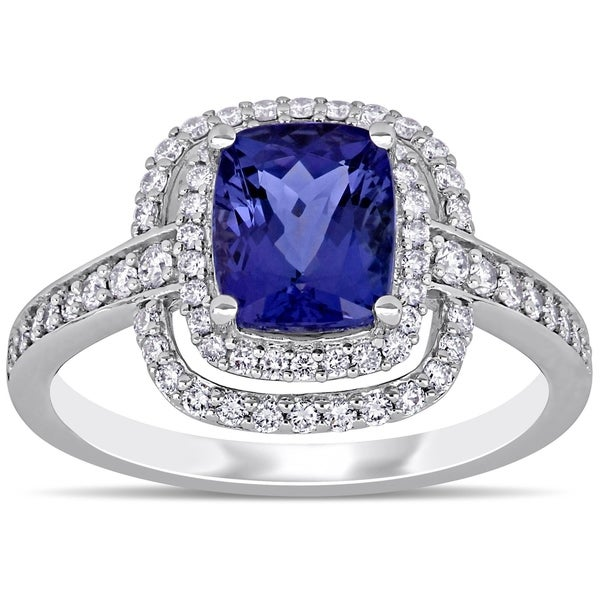 Miadora 14k White Gold Cushion-Cut Tanzanite and 1/2ct TDW Double Halo Engagement Ring. Opens flyout.
