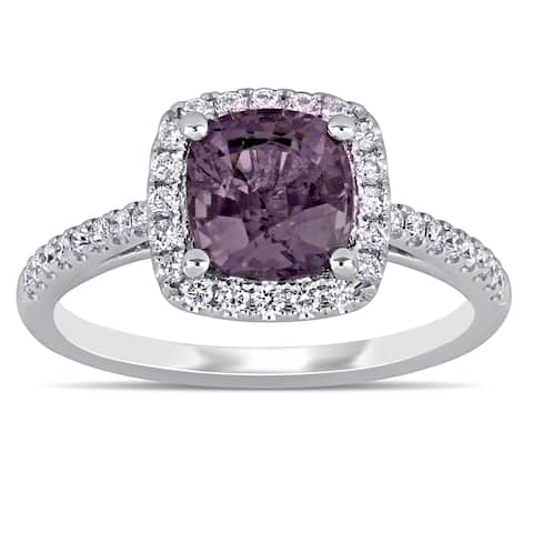 Miadora 14k White Gold Purple Spinel and 3/8ct TDW Diamond Halo Engagement Ring