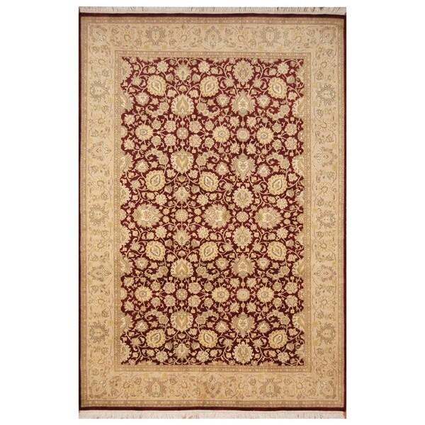 Handmade Tabriz Wool and Silk Rug (Pakistan) - 6'3 x 9'6