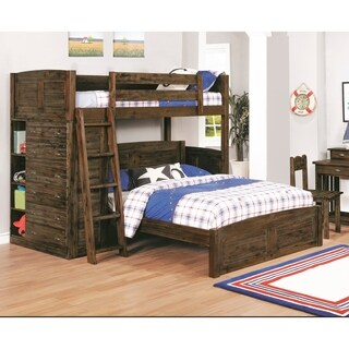 American Furniture Classics Model 4805-TFC, Solid Acacia Hardwood Twin Over Full Loft Bed with Six Drawers in Chestnut