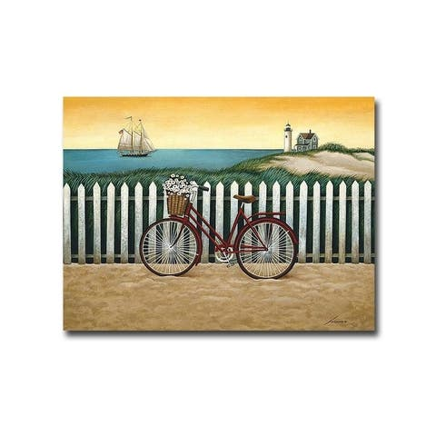 Cycle to the Beach by Lowell Herrero Gallery Wrapped Canvas Giclee Art (18 in x 24 in, Ready to Hang)