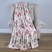 BOON Printed Flannel Tropical Flower French / Puerto Rico Floral Throw