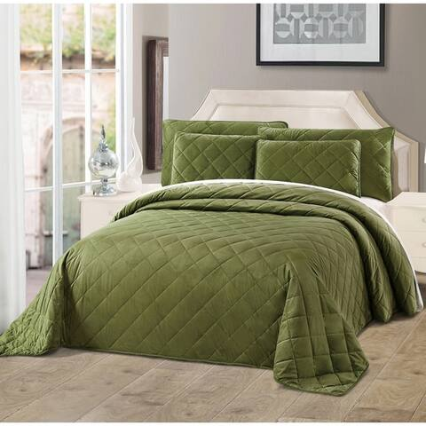 Serenta Velvet Quilts 5 Piece Ultra Soft Floor Touching Bedspread Set
