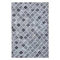 Grey White 5x7 Patchwork - 5' x 7'