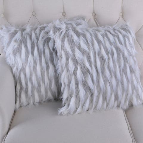 BOON Feathery Highlight Lamb Shaggy Faux-Fur 2 Piece Pillow Shell Set