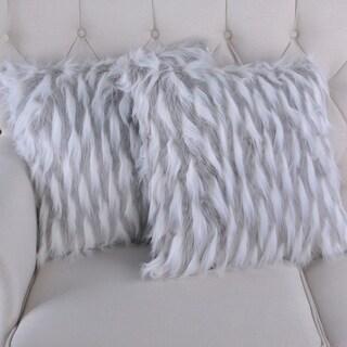 BOON Feathery Highlight Lamb Shaggy Faux-Fur 2 Piece Pillow Shell Set