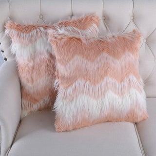 BOON Chevron Lamb Shaggy Zig Zag Faux-Fur 2 Piece Pillow Shell Set