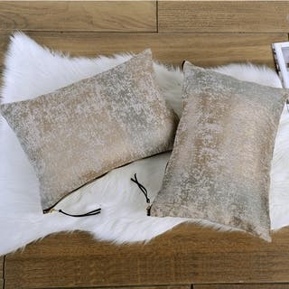 The Curated Nomad Peralta 2-piece Jacquard Chenille Zipper Lumbar Pillow Set