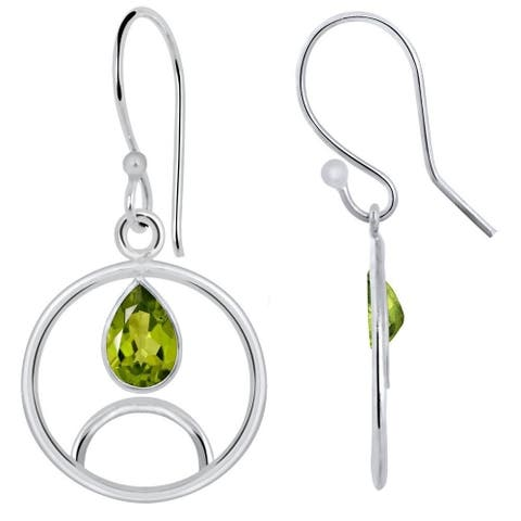 Peridot Brass Pear Dangle Earrings by Fashionablez