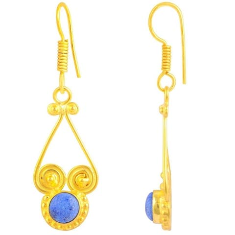 Lapis Lazuli Brass Round Dangle Earrings by Fashionablez